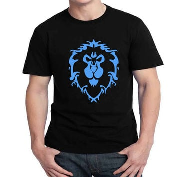 For The Horde blue Lion  Logo Mens T-shirt Black and White