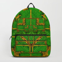 golden green and  sunshine pop-art Backpack by Pepita Selles