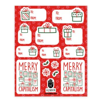 MERRY CAPITALISM GIFT TAG STICKERS