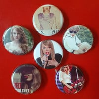 """Taylor Swift set of 6 pin back buttons 1.25"""""""
