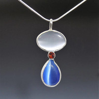 Red White and Blue Cats Eye Necklace, 4th of July, Memorial Day, Veteran Jewelry,