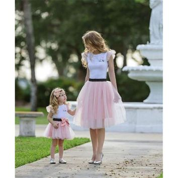 2017 Family Matching Women Baby Girls Kids Outfits Tops T-shirt Skirt Tutu Skirt 2pcs