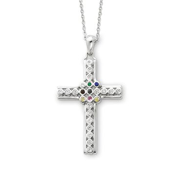 Sterling Silver & CZ The Lord is My Shepherd Cross Necklace, 18 Inch