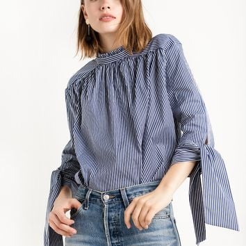High Collar Sleeve Tie Stripe Shirt