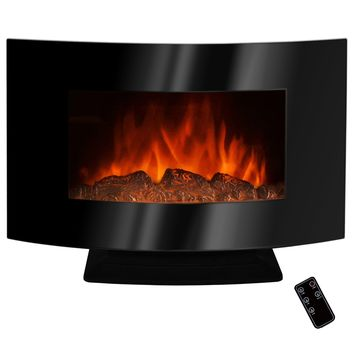 C & M 36in Curved Wall Mount Electric Fireplace