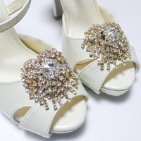 Sparkling Vintage style Gold plated Crystal shoe clips