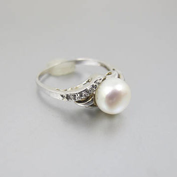 Pearl Diamond Ring. Cultured Pearl Pave Diamond Solitaire. 14K White Gold. Engagement Promise Ring.