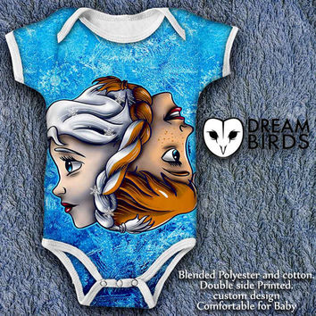 Disney Frozen Princess Elsa and Anna Baby Onesuit, Fullprint Onesuit Bodysuit