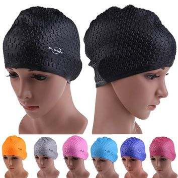Silicon Waterproof Swimming Caps Protect Ears Long Hair Sports Swim Pool Hat Swimming Cap Free size for Men & Women Adults