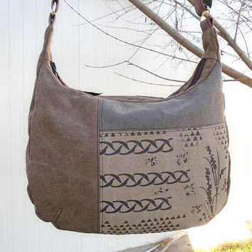 Waxed canvas crossbody purse, brown hobo bag, waxed fabric purse, brown and gray bag, zipper shoulder bag, vintage hobo bag, cotton day bag