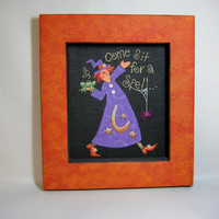 Witch Folk Art  Tole Painted and Framed in Orange