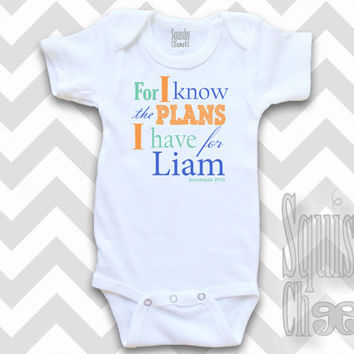 Christian Baby Outfit - For I Know the Plans Infant Outfit - Personalized Baby Onesuit - Baby Boy Clothes, Baby Shower Gift - Baby & Toddler