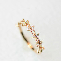 Gift New Arrival Stylish Shiny Jewelry Korean Fashion Simple Design Lace Gold Ring [6057010305]