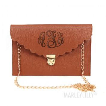 Monogrammed Scalloped Luxe Cross Body Clutch | Marley Lilly