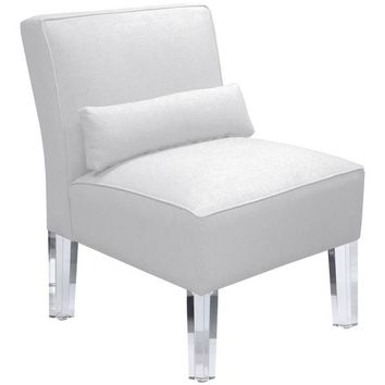 Skyline Furniture Duck White Armless Chair with Acrylic Legs | Overstock.com Shopping - The Best Deals on Living Room Chairs
