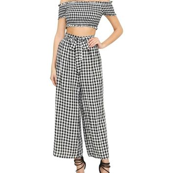 Gingham Off-the-Shoulder Two-Piece Jumpsuit