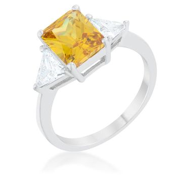 Classic Canary Yellow White Gold Rhodium Engagement Ring