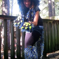 you choose CUSTOM design Hood -- full fur Animal Hat // any colors // claws mohawk extra pockets -- furry hat Unique clothing burning man