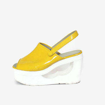 5ea32d7f9e9 Vintage 70s Patent Leather Platforms   1970s Shiny Yellow   Whit