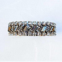 Rhinestone Cuff / Mid Century / Wedding Fashion / Vintage Jewelry