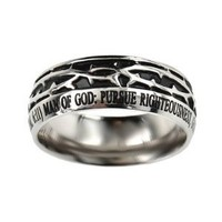 "Christian Mens Stainless Steel Crown of Thorns ""Man of God"" 1 Timothy 6:11 Guys Purity Ring"