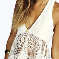 Sienna Crochet Lace Plunge Neck Peplum Top