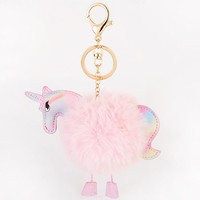 Unicorn Fluff Ball Keychain