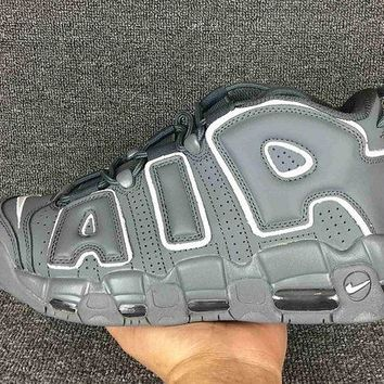 Jacklish Nike Air More Uptempo Grey White Cheap For Sale