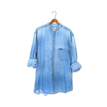 Washed Out GUESS Jean Denim Shirt Button Up Oversized Mens Boyfriend Faded Collarless Nehru Collar Pocket Shirt Basic Plain Size Large