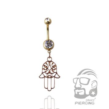 Hamsa Reverse Navel Ring Body Jewelry