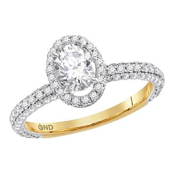 14kt Yellow Gold Womens Oval Diamond Solitaire Bridal Wedding Engagement Ring 1-5-8 Cttw