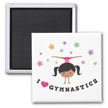 I love gymnastics cartoon girl, african american 2 inch square magnet