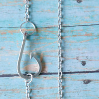 Fish Hook Necklace / Fishing Necklace / Nautical Necklace / Hunting and Fishing / Country Girl Jewelry / Outdoor Theme