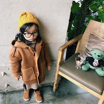 2017 Winter Coats Boys Wool Cotton Kids Blends Girls Overcoat Toddler Jacket Button Hooded Keep Warm Long Outwear New Fashion