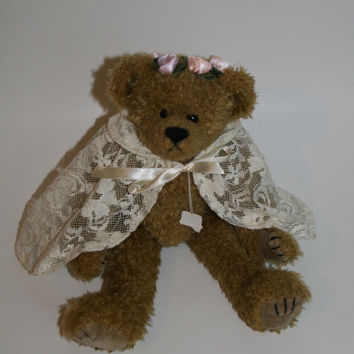 90s plush toy teddy bear victorian ivory lace baby nursery girl girls room home decor shower bridal gift pink steampunk soft grunge pastel