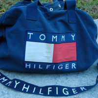 Navy blue tommy hilfiger duffle gym weekender bag