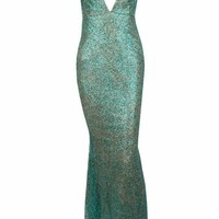 Honey Couture THESSY Green Mermaid Sequin Formal Gown Dress