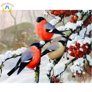 Diy pictures by numbers snow birds wall craft Modular painting by numbers on canvas acrylic coloring drawing wall art Y103
