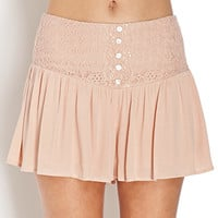 Lace Paneled Flutter Shorts