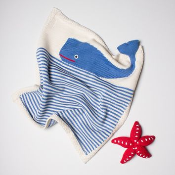 Estella Organic Cotton Baby Blanket and Rattle Gift Set - Blue Whale and Red Starfish