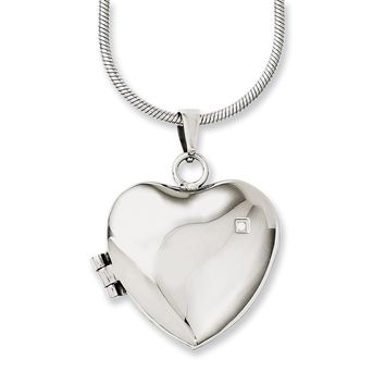 Stainless Steel Polished Heart w/CZ Locket 20in Necklace