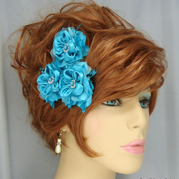 Turquoise Satin Organza Flower Trio Wedding Hair Accessory Set of 3