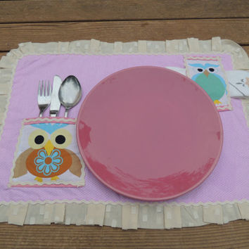 Owl Placemat Set Ruffled Kids Placemat with  Owl Pocket And Napkin Holder Reversible Placemat  Shabby Chic Pink Polkadot Placemat