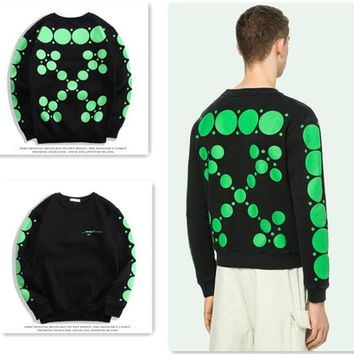 OFF WHITE Fashion Women Men Casual Print Long Sleeve Round Collar Sweater Top Sweatshirt Black