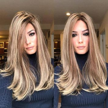 Natural Long Natural Curly Wigs brown Gradient Synthetic Heat Resistant Human Hair Wig Full Lace Wig Front Wig for Women 2U81206