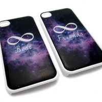 Friendship Best Friends Infinity Space Snap-On w/ Hard Cover Carrying Case Set for iPhone 4/4S - Set of 2 Cases (White)