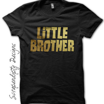Little Brother Shirt - Toddler Boys Tshirt / Birth Announcement Tee / Personalized Little Brother Baby Outfit / Kids Gold Foil Shirt / Black