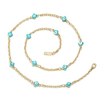 Magical Unique Evil Eye Protection Amulet Lucky Clover Charms Gold-Tone Sky Blue 18 Inch Necklace