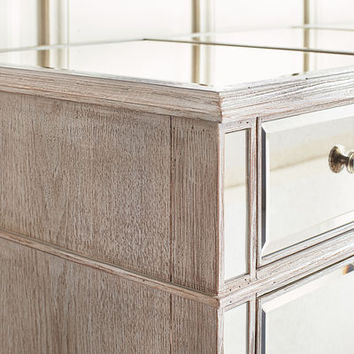 Hayworth Mirrored Weathered Oak 3-Drawer Dresser
