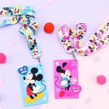1 pcs Cartoon anime mickey minnie Lanyard Key Chains Pendant party Gifts Neck Strap Card Bus ID Holders Identity Badge Lanyard